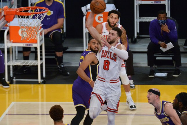 Chicago Bulls guard Zach LaVine, shown Jan. 8, 2021, didn't travel with the rest of Team USA on its flight to Tokyo for the Olympics, putting his availability in question. File Photo by Jim Ruymen/UPI