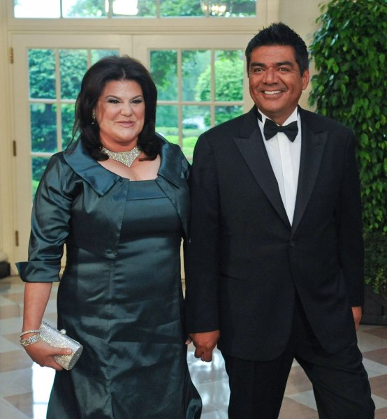 George Lopez and his wife Ann arrive for the State Dinner with U.S. President Barack Obama, First Lady Michelle Obama, Mexican President Felipe Calderon and his wife Margarita Zavala at the White House in Washington on May 19, 2010. UPI/Alexis C. Glenn