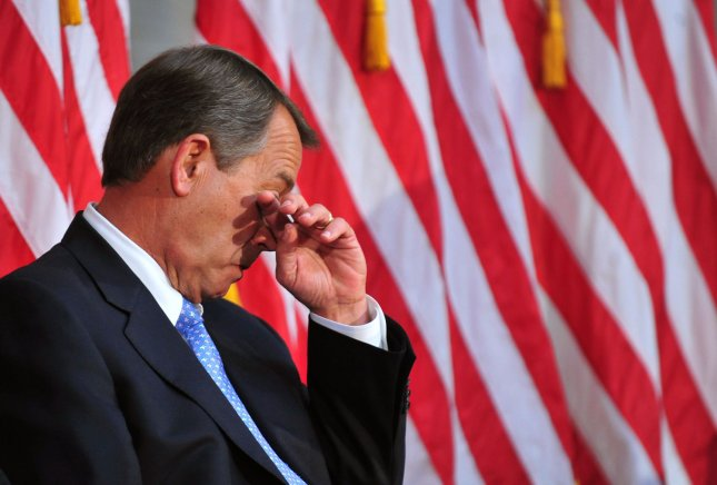 Speaker of the House John Boehner (R-OH) wipes tears from his eyes on May 3, 2011. (File/UPI/Kevin Dietsch)