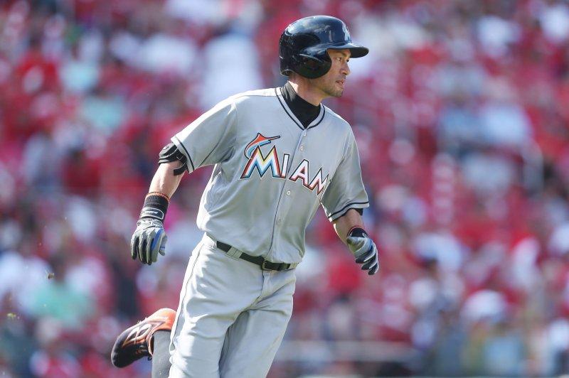 Miami Marlins' Ichiro Suzuki. Photo by Bill Greenblatt/UPI