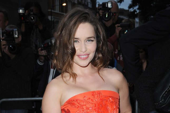 Emilia Clarke at the GQ Men of the Year Awards on Sept. 8. 'Game of Thrones' actor Elie Haddad leaked a script page with dialogue about Clarke's character, Daenerys Targaryen. File Photo by Paul Treadway/UPI