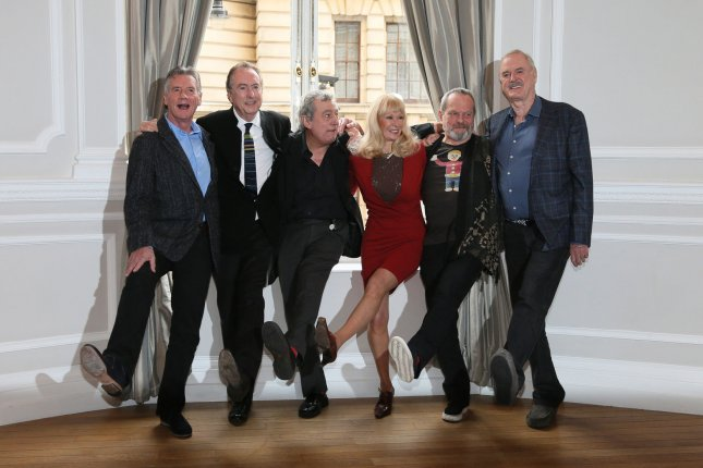 The Monty Python gang of (L-R) Michael Palin, Eric Idle,Terry Jones, Carol Cleveland, Terry Gilliam and John Cleese attend a photocall to publicize a a reunion show in London, Thursday, November 21, 2013. File Photo by Hugo Philpott/UPI