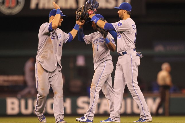 Kansas City Royals (L to R) Alex Gordon, Jarrod Dyson and Paulo Orlando celebrate the third out and a 4-2 win over the St. Louis Cardinals at Busch Stadium in St. Louis on June 30, 2016. File photo by Bill Greenblatt/UPI