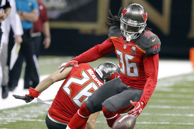 Former Tampa Bay Buccaneers and Arizona Cardinals defensive back D.J. Swearinger (36) recovers a fumble by New Orleans Saints wide receiver Willie Snead during the third quarter. File photo by AJ Sisco/UPI