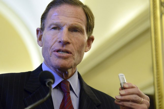 Sen. Richard Blumenthal, D-Conn., said nearly 200 Democrats in Congress will sue President Donald Trump for repeatedly and flagrantly violating the Constitution's Emoluments Clause. Photo by Mike Theiler/UPI