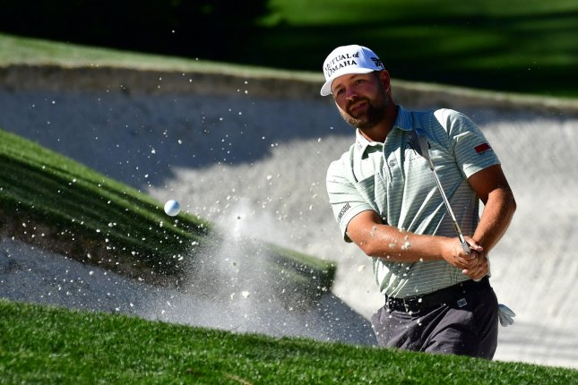 Ryan Moore hits from a bunker on the 10th hole during the third round of the 2017 Masters Tournament at Augusta National Golf Club in Augusta, Georgia on April 8, 2017. File photo by Kevin Dietsch/UPI