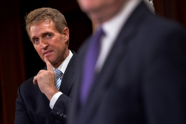 Sen. Jeff Flake, R-Ariz., was one of three Republican lawmakers who told a USA Today poll he opposed building President Donald Trump's border wall. File Photo by Kevin Deitsch/UPI