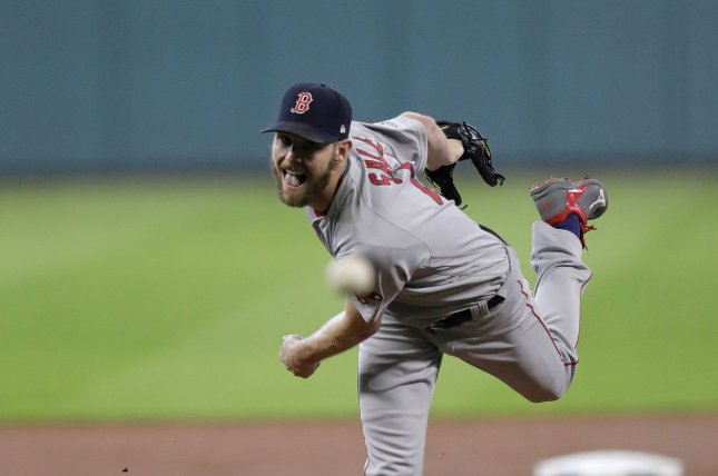 Boston Red Sox pitcher Chris Sale (41) pitches against the Houston Astros in the first inning of Game 1 of the ALDS on October 5 in Houston, Texas. Photo by Eric Gay/UPI