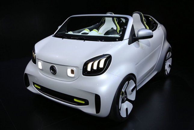 A Smart Forease all-electric concept car is seen on display during press day at the biennial Paris Motor Show in Paris on Tuesday. Photo by David Silpa/UPI