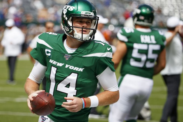 New York Jets quarterback Sam Darnold (14) completed 28 of 41 passes for 175 yards and a touchdown in Week 1 loss to the Buffalo Bills Sept. 8. Darnold has missed the Jets' last two games due to mononucleosis. Photo by Chris Szagola/UPI