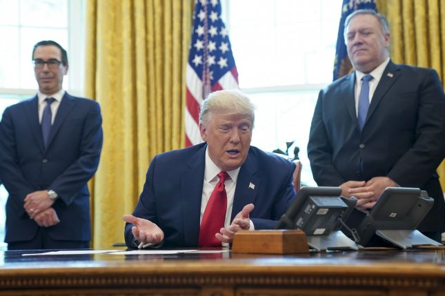 U.S. President Donald Trump speaks on a conference call with leaders of Israel and Sudan and to members of the media about a Sudan-Israel peace agreement Friday. Photo by Leigh Vogel/UPI