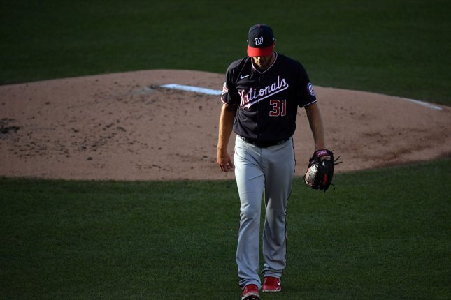 Washington Nationals starting pitcher Max Scherzer, shown July 29, 2020, tweaked his groin during his start against the San Francisco Giants on Friday. File Photo by Kevin Dietsch/UPI