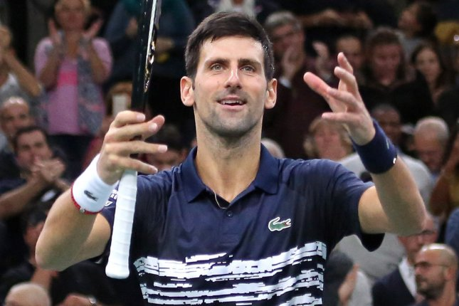 Novak Djokovic of Serbia dominated his first match and moved on to the second round of the 2020 Summer Games tennis tournament Saturday in Tokyo. File Photo by David Silpa/UPI