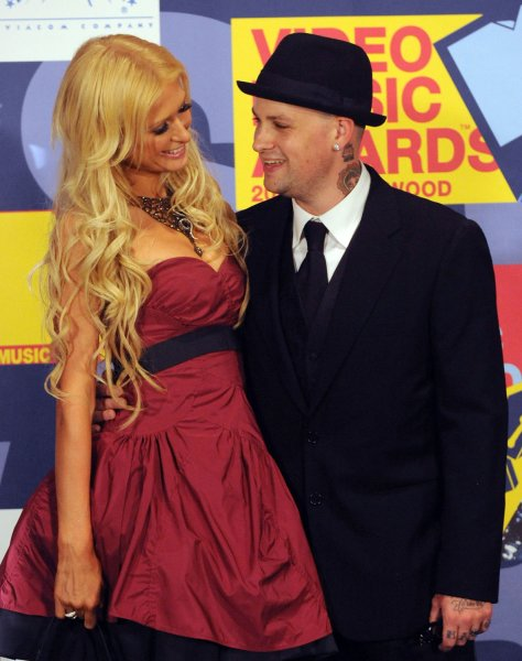 Paris Hilton and her boyfriend, musician Benji Madden appear backstage during the 2008 MTV Video Music Awards held at Paramount Pictures Studios Lot in Los Angeles on September 7, 2008. (UPI Photo/Jim Ruymen)