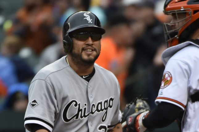 Former Chicago White Sox batter Dioner Navarro (27) reacts after striking out during the second inning at Camden Yards in Baltimore, May 1, 2016. Photo by David Tulis/UPI