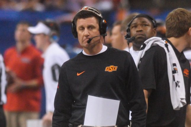 Oklahoma State's head coach Mike Gundy walks away after Ole Miss scores another touchdown in the second quarter of the Allstate Sugar Bowl at the Mercedes-Benz Superdome in New Orleans, Louisiana, on January 1, 2016. Photo by Veronica Dominach/UPI
