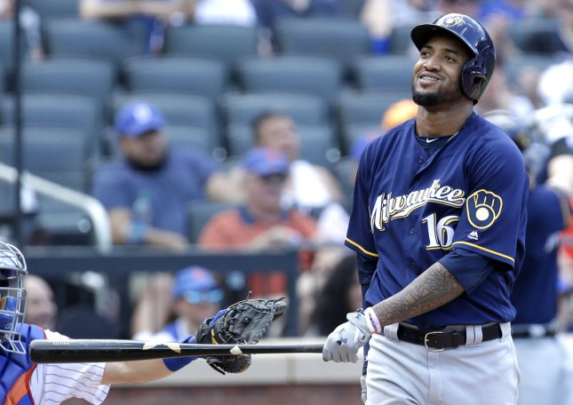 Domingo Santana and the Milwaukee Brewers erupted for an easy win over the Miami Marlins. Photo by John Angelillo/UPI