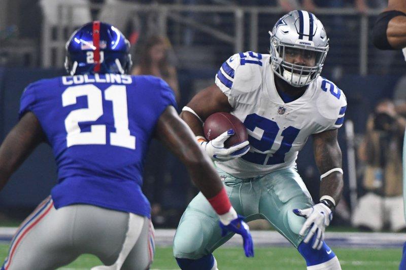 Dallas Cowboys running back Ezekiel Elliott runs for short yardage against the New York Giants at AT&T Stadium in Arlington, TX on September 10, 2017. File photo by Ian Halperin/UPI