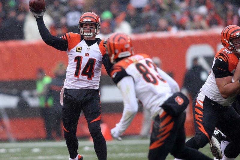 Cincinnati Bengals' quarterback Andy Dalton throws a pass to Tyler Boyd. File photo by Aaron Josefczyk/UPI