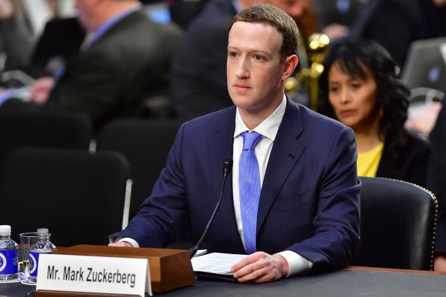 Facebook CEO Mark Zuckerberg listens to a question while testifying at a Joint Senate Judiciary and Commerce Committee hearing on Facebook, social media privacy, and the use and abuse of data, on Capitol Hill in Washington, D.C. on Tuesday. Photo by Kevin Dietsch/UPI