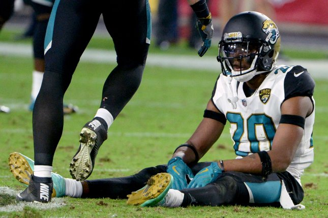 Jacksonville Jaguars defensive back Jalen Ramsey sits on the field following a loss to the Arizona Cardinals last season. Photo by Art Foxall/UPI