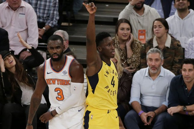 Victor Oladipo and the Indiana Pacers face Tim Hardaway Jr. (L) and the New York Knicks on Sunday. Photo by John Angelillo/UPI