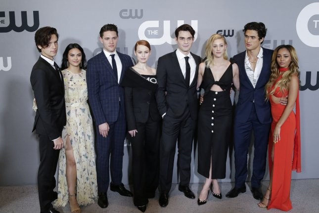 Left to right: Riverdale stars Cole Sprouse, Camila Mendes, Casey Cott, Madelaine Petsch, KJ Apa, Lili Reinhart, Charles Melton and Vanessa Morgan arrive at The CW Network's 2018 upfront on May 17 in New York City. The show has been picked up for the 2019-20 broadcast season. File Photo by John Angelillo/UPI