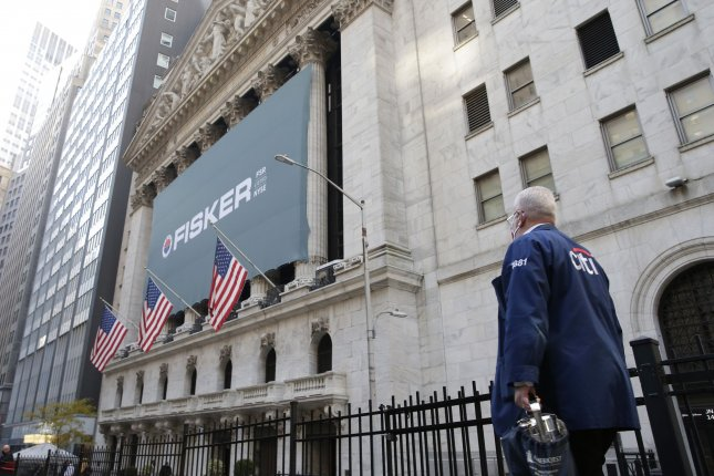 Stocks lost much of the gains they made earlier in the week after positive vaccine trial news. Photo by John Angelillo/UPI