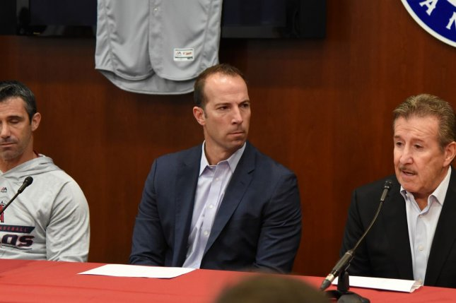 Perry Minasian replaces former Los Angeles Angels general manager Billy Eppler (C), who was fired by the Angels in late September after the club's fifth consecutive losing season. File Photo by Ian Halperin/UPI