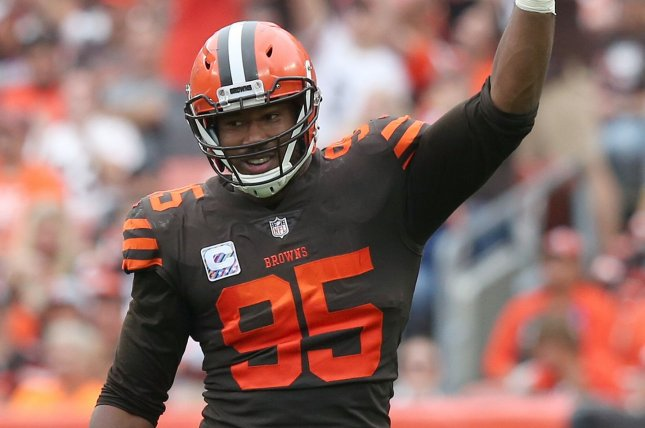 Cleveland Browns star defensive end Myles Garrett was placed on the reserve/COVID-19 list on Nov. 20. He has missed the Browns' last two games. File Photo by Aaron Josefczyk/UPI