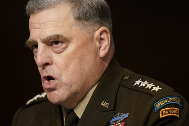 Chairman of the Joint Chiefs of Staff Gen. Mark Milley speaks during a Senate Armed Services Committee hearing on the conclusion of military operations in Afghanistan on Tuesday on Capitol Hill. Pool Photo by Patrick Semansky/UPI