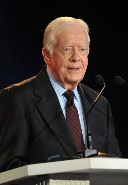 Former President Jimmy Carter delivers remarks at the Thanks a Million! Habitat for Humanity gala which honored the life and service of Jimmy and Rosalynn Carter, in Washington on October 4, 2010. UPI/Kevin Dietsch