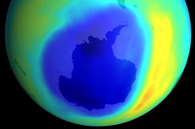 This graphic shows the data from the Total Ozone Mapping Spectrometer (TOMS) Earth Probe, for the month of September 2000. Areas of depleted ozone over the Antarctic are shown in blue. The area is three times larger than the entire land mass of the United States and is the largest such area ever observed. The United Nations' weather organization said that the atmosphere will take up to 15 years longer than previously expected to recover from pollution and repair its ozone hole on August 18, 2006. (UPI Photo/NASA)