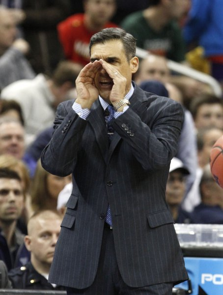 Villanova University head coach Jay Wright reacts to his team play against University of Miami during the second half of play in their fourth round game of the 2016 NCAA Division I Men's Basketball Regional Championship game at the KFC Yum! Center in Louisville, Kentucky, March 24, 2016. Photo by John Sommers II/UPI