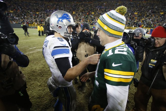 Aaron Rodgers and the Green Bay Packers were 2-0 against the Detroit Lions and Matthew Stafford in 2018. File Photo by Jeffrey Phelps/UPI