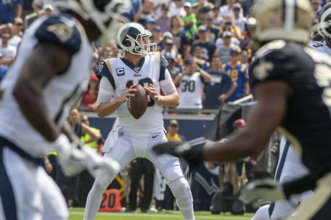 Los Angeles Rams quarterback Jared Goff (16) is set to make more than $30 million in 2020 but says he is willing to restructure his contract. File Photo by Michael Goulding/UPI