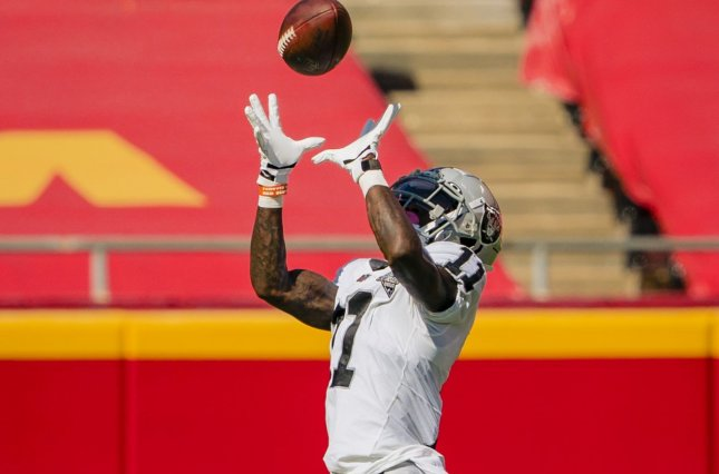 Las Vegas Raiders wide receiver Henry Ruggs III will be out for Thursday's game against the Los Angeles Chargers. File Photo by Kyle Rivas/UPI