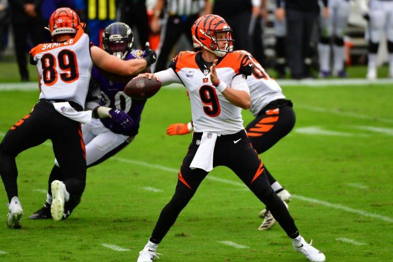 Cincinnati Bengals quarterback Joe Burrow (9), shown Oct. 11, 2020, underwent reconstructive left knee surgery in December. File Photo by David Tulis/UPI
