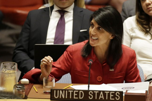 U.S. Ambassador Nikki Haley speaks in the Security Council Chamber at the United Nations July 5 in an emergency meeting on North Korea. Photo by John Angelillo/UPI