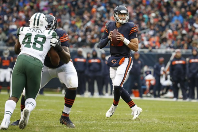 Chicago Bears quarterback Mitchell Trubisky drops back to pass during a game against the New York Jets at Soldier Field on October 28, 2018. Photo by Kamil Krzaczynski/UPI