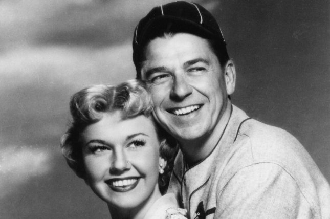 Doris Day (L) starred with Ronald Reagan in the 1952 film The Winning Team. Day died Monday at  age 97.  UPI File Photo