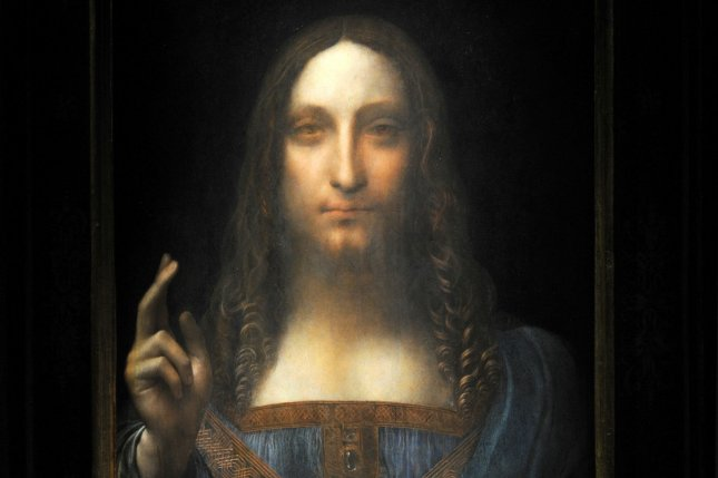 Leonardo da Vinci's Salvator Mundi painting was on display at a press preview at Christie's in New York City in 2017. File Photo  by Dennis Van Tine/UPI