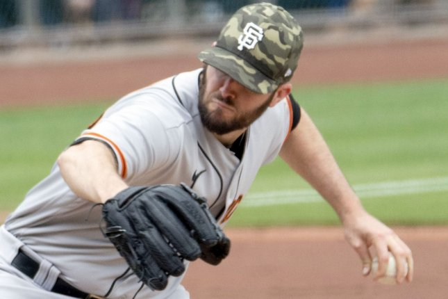 San Francisco Giants starting pitcher Alex Wood throws in the first inning against the Pittsburgh Pirates on Sunday at PNC Park in Pittsburgh. Photo by Archie Carpenter/UPI