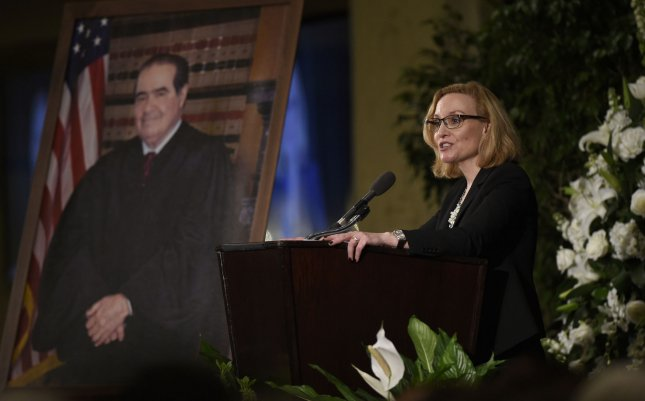 Joan Larsen, justice of the Michigan Supreme Court and a former clerk for Supreme Court Justice Antonin Scalia, speaks at a memorial for Scalia at the Mayflower Hotel in Washington on March 1. She is among 10 nominees to federal judicial positions to be announced Monday by the White House File Pool photo by Susan Walsh/UPI