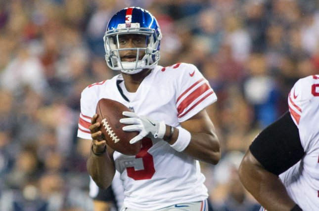 98915cfcf82 Former New York Giants quarterback Geno Smith (3) drops back for a pass in  the second quarter of a preseason game against the New England Patriots on  August ...