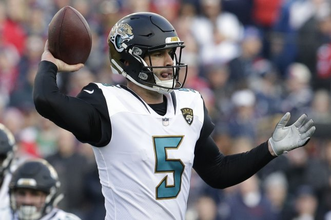 Jacksonville Jaguars quarterback Blake Bortles throws against the New England Patriots in the second quarter of the AFC Championship game on January 21 at Gillette Stadium in Foxborough, Mass. Photo by John Angelillo/UPI