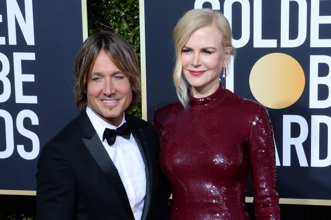 Nicole Kidman (R) and Keith Urban attend the Golden Globe Awards on Sunday. Photo by Jim Ruymen/UPI