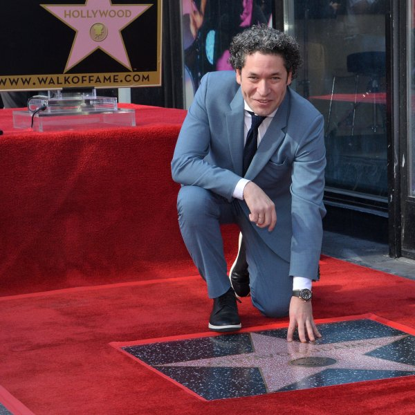 Venezuelan conductor and violinist Gustavo Dudamel was honored with the 2,654th star on the Hollywood Walk of Fame in Los Angeles Tuesday. Photo by Jim Ruymen/UPI.