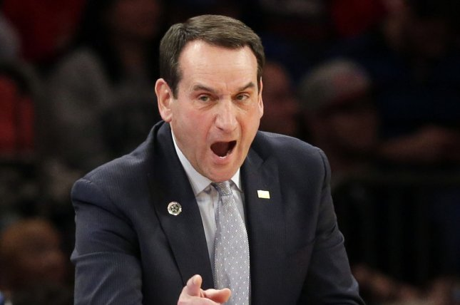 Duke Blue Devils head coach Mike Krzyzewski and his team play the Virginia Tech Hokies in the Sweet 16. File Photo by John Angelillo/UPI