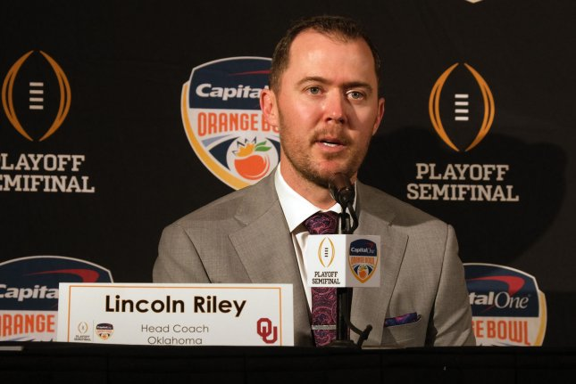 University of Oklahoma head football coach Lincoln Riley and the Sooners will play the top-ranked LSU Tigers on Dec. 28 in the Peach Bowl. File Photo by Gary I Rothstein/UPI